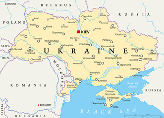 Ukraine political map with capital Kiev, national borders, important cities, rivers and lakes. English labeling and scaling. Illustration.