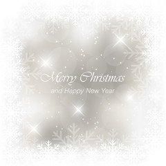 Christmas greeting card with snowfall, flakes and glow.