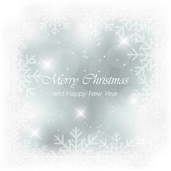 Abstract vector blue light Christmas card.
