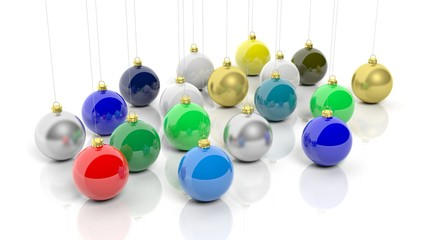Colorful Christmas balls, isolated on white background.
