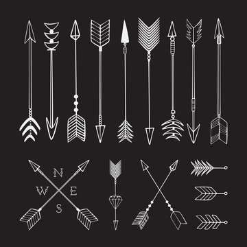 Hand drawn arrows. Fighting arrow, munition. Sketch.
