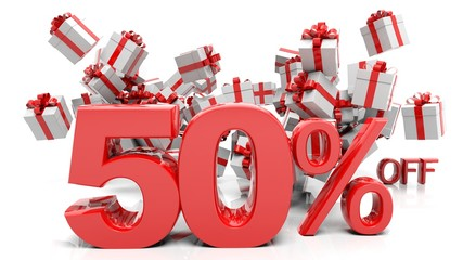 50% 3D numbers with bunch of gift boxes,isolated on white background.