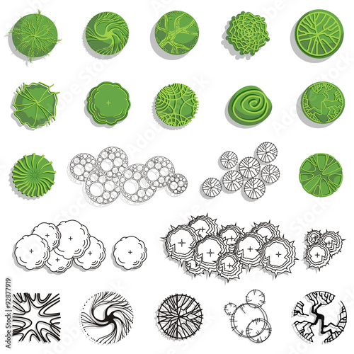 Trees And Bush Item Top View Side For Landscape Design Vector Icon