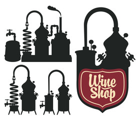 set of logos for a wine shop with a picture of wine production