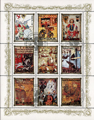 postage stamp/ DPR KOREA - CIRCA 1984: mail stamp printed in DPR Korea featuring German monarchy: Conrad III, Henry VIII, Henry VI, King Johann, Elizabeth I, Charles VII and other antique reproduction