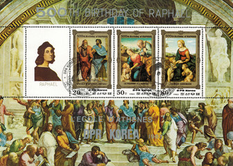 DPR KOREA - CIRCA 1984: mail stamp printed in DPR Korea featuring 500 years since the birth of Raphael. Reproductions of paintings: the school of Athens, Madonna with the lamb, Madonna with babies