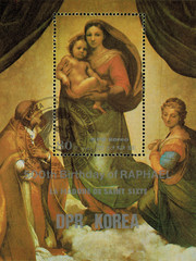 postage stamp/ DPR KOREA - CIRCA 1983: mail stamp printed in DPR Korea featuring 500 years since the birth of Raphael. Reproduction of Raphael Santi, the Sistine Madonna, circa 1983