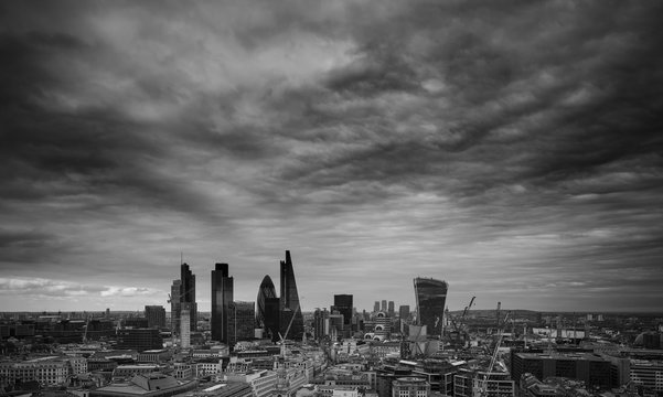 City of London financial district square mile skyline with storm