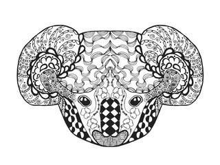 Zentangle stylized koala head. Sketch for tattoo or t-shirt.