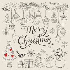 Christmas hand drawing decorative elements for design. Vector il