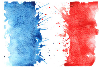hand-drawn sketch - French flag , with the characteristic waterc