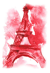 watercolor hand-drawn sketch - the Eiffel Tower , France