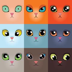 Set of funny cartoon cat faces