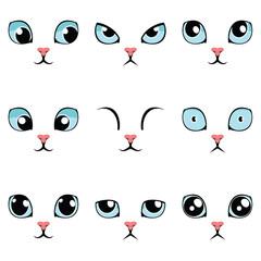 Set of funny cartoon blue cat eyes isolated on white