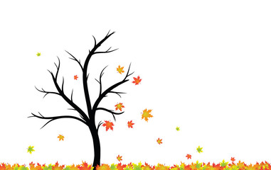 Magical colorful autumn season tree with red, yellow, orange, colour leaves in the wind and floor. Beautiful autumn season tree with leaves illustration isolated on white with copy space.