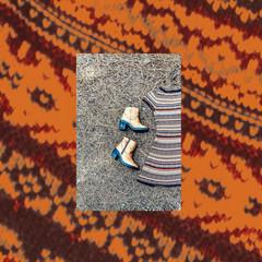 Fashion dress ornament, fashionable shoes. Autumn Look