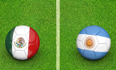 Team balls for Mexico vs Argentina soccer tournament match