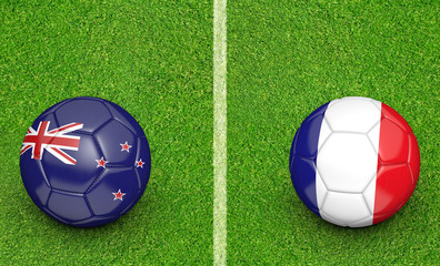 Team balls for New Zealand vs France soccer tournament match