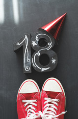 18th Birthday concept with sneakers