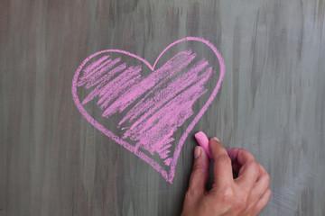 chalk drawing heart