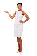african businesswoman presenting empty space