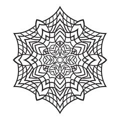 Hand-drawn doodles snowflake. Zentangle mandala style.