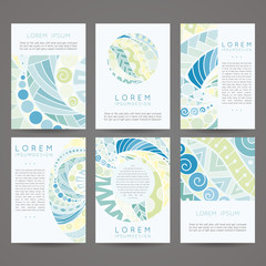 Set of vector design templates. Brochures in random colorful