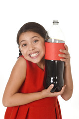 happy female child holding big cola soda bottle against her face in crazy excited expression