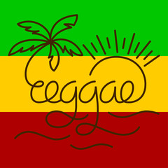 Vector isolated lettering poster in reggae style.