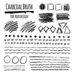 Set of charcoal brush strokes