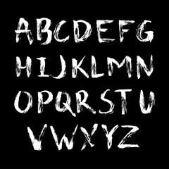 Alphabet in calligraphy brush