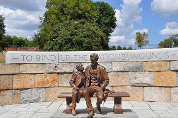 Abraham Lincoln Statue with son at the American Civil War Center in Richmond, Virginia