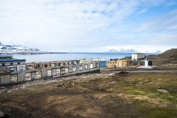 Destroyed buildings in Barentsburg, russian city in Svalbard