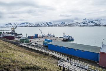 Port in Barentsburg, Russian city in Svalbard