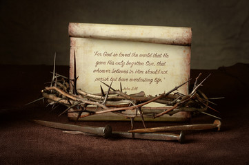 Crown of Thorns and Nails With Scripture