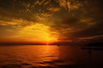 Beautiful sea sunrise clouds.