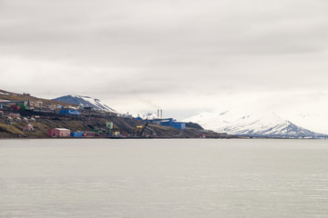 Skyline of Barentsburg, Russian settlement in Svalbard, Norway