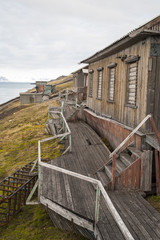 Abandoned house in Barentsburg, Russian settlement in Svalbard