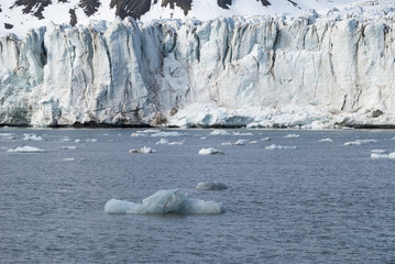Icebergs in front of the glacier, Svalbard, Arctic