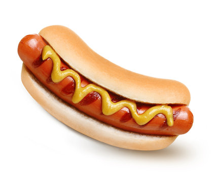 Hot dog grill with mustard