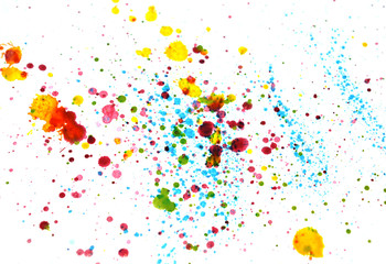 Abstract splashes of watercolor on white background