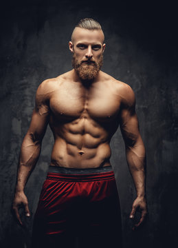 Portrait of strong muscular guy.