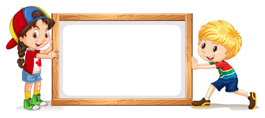 Girl and boy by the wooden frame