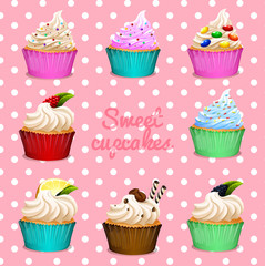 Different design of cupcakes