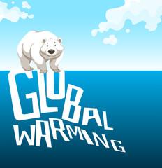 Global warming sign with polar bear