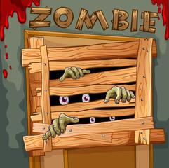 Zombie behind the wooden door