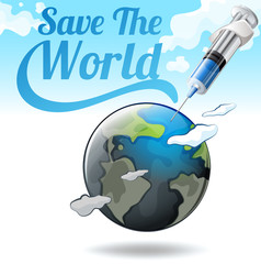 Save the world poster with earth and needle