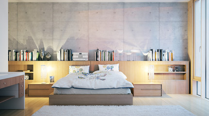 modern hotelroom with conrete wall - modernes Hotelzimmer