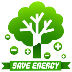 Save energy sign with tree and symbols