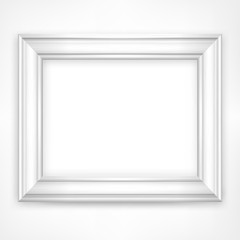 Picture white wooden frame isolated on white,